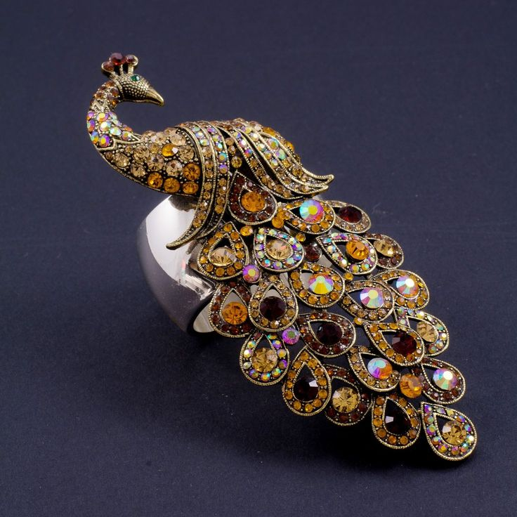 Peacock Napkin Rings Featuring Topaz Swarovski © Crystals | Set of 2