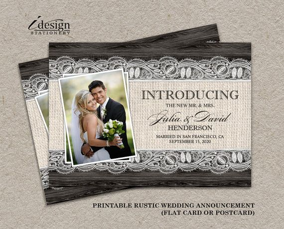 Diy Printable Elegant Rustic Wedding Announcement Photo Card By Idesignstationery On Etsy