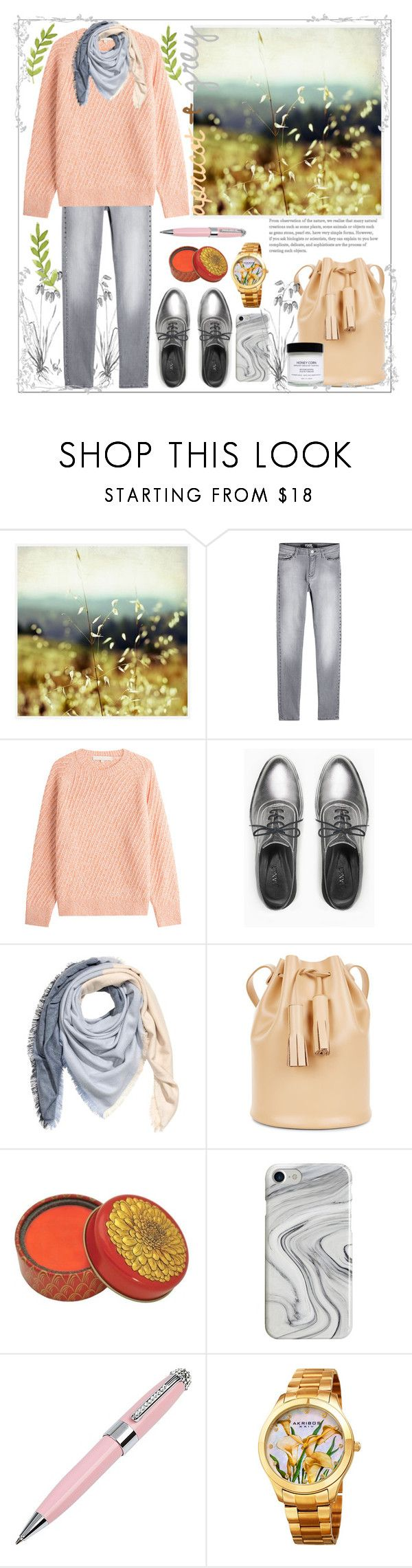 """""""Apricot & grey"""" by natalyapril1976 ❤ liked on Polyvore featuring Pottery Barn, Karl Lagerfeld, Vanessa Bruno, Max&Co., Building Block, Recover, ICE London, Akribos XXIV and Honey Corn"""