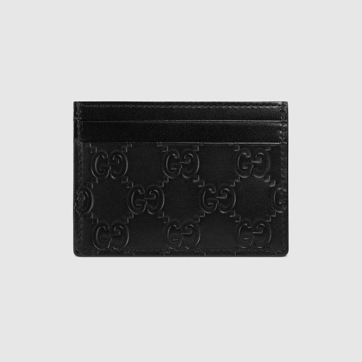 GUCCI Gucci Signature Leather Card Case - Black Gucci Signature. #gucci #bags #leather #