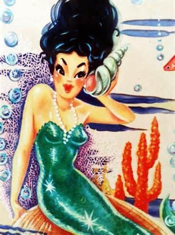 Sirena d'epoca degli anni ' 50 Cross Stitch di lisalskinner