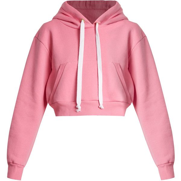 Natasha Zinko Cropped hooded cotton-blend sweatshirt ($280) ❤ liked on Polyvore featuring tops, hoodies, sweatshirts, sweaters, sweatshirt, jackets, light pink, hooded pullover sweatshirt, pink hoodies and hoodie crop top