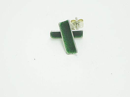 Silber Ohrstecker - Ohrstecker, Emaille, grün transparent - ein Designerstück von schlicht-Schmuck bei DaWanda