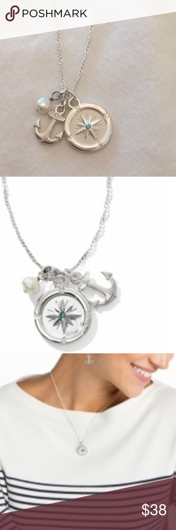 Indigo Compass Necklace Brighton Compass necklace is very pretty with an anchor and freshwater pearl. Brighton Jewelry Necklaces