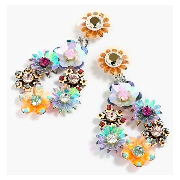 J.Crew Sequin And Crystal Rose Earrings ($120) ❤ liked on Polyvore featuring jewelry, earrings, crystal stone jewelry, crystal earrings, j crew jewelry, flower earrings и rose jewelry