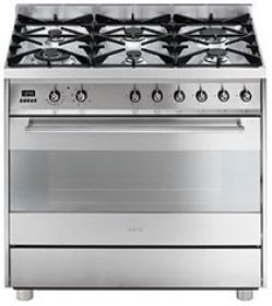 Smeg 90cm freestanding satin stainless steel gas/electric cooker with energy rating A (model C9GMXA)  for sale at L & M Gold Star (2584 Gold Coast Highway, Mermaid Beach, QLD). Don't see the Smeg product that you want on this board? No worries, we can order it in for you!