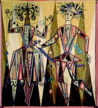 The Harlequins 1958/59 by Constance Howard. In collection of Goldsmiths College, University of London 48 x 52 cm (19 x 21 in).