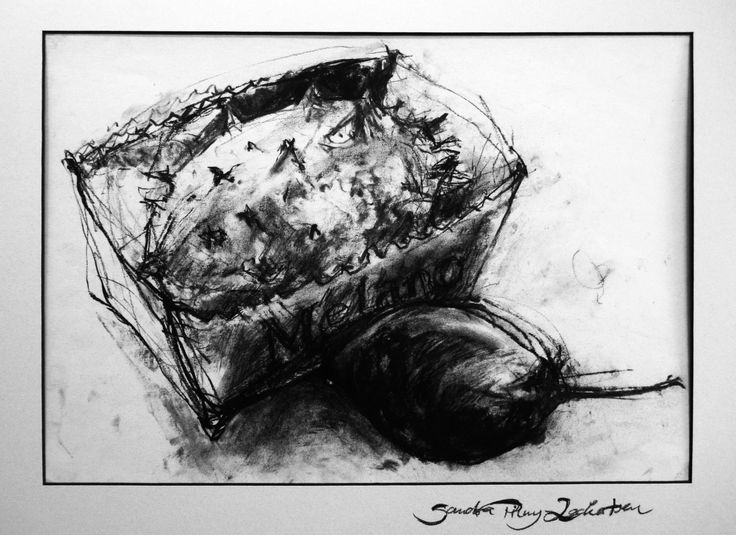 """""""fruits"""", charcoal on paper"""