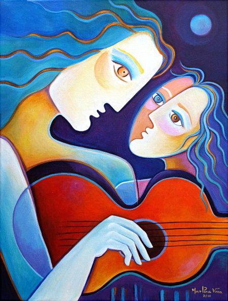 MarlinaVera Original Cubist Abstract Pop Folk Modern Art Painting