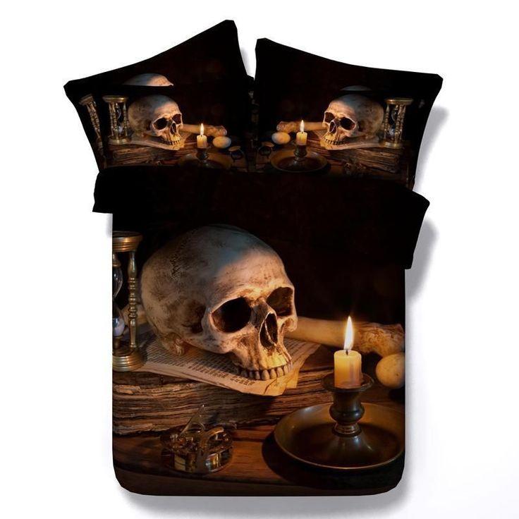 3d skull comforter duvet set king size