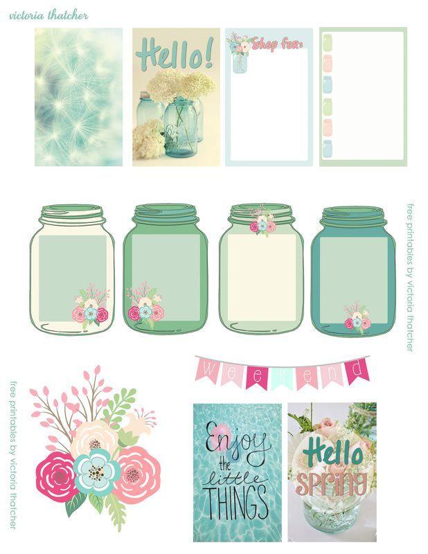 Free Mason Jar Floral Planner Printables | Victoria Thatcher