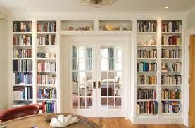 French Doors And Built Ins In Study With Over Door Shelves