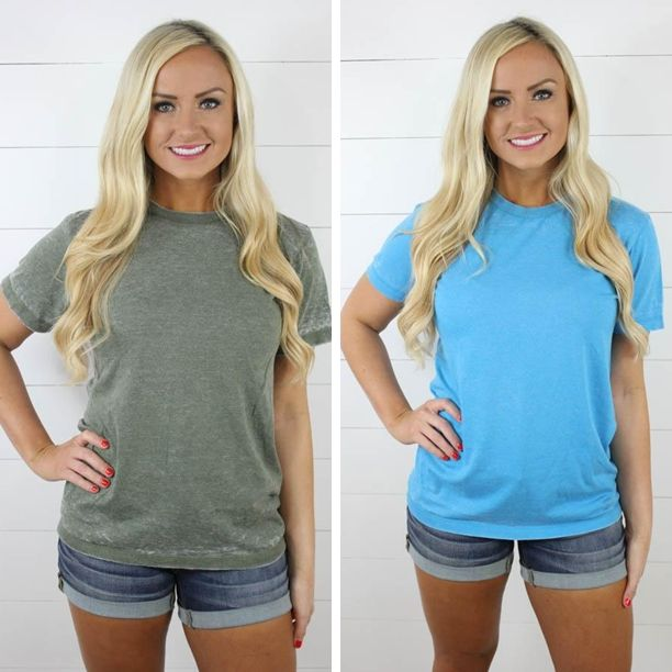 Short Sleeve Acid Wash Burnout Tee - This tee will quickly become one of your favorites! It is super soft and looks adorable paired with shorts or jeans for a quick and stylish outfit!