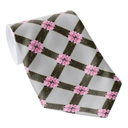 Flowers Stripes Trellis Pattern Tie - pink gifts style ideas cyo unique