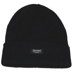 UNISEX PLAIN BLACK THINSULATE BEANIE HAT (W11121) ONE SIZE FITS ALL 100% ACRYLIC