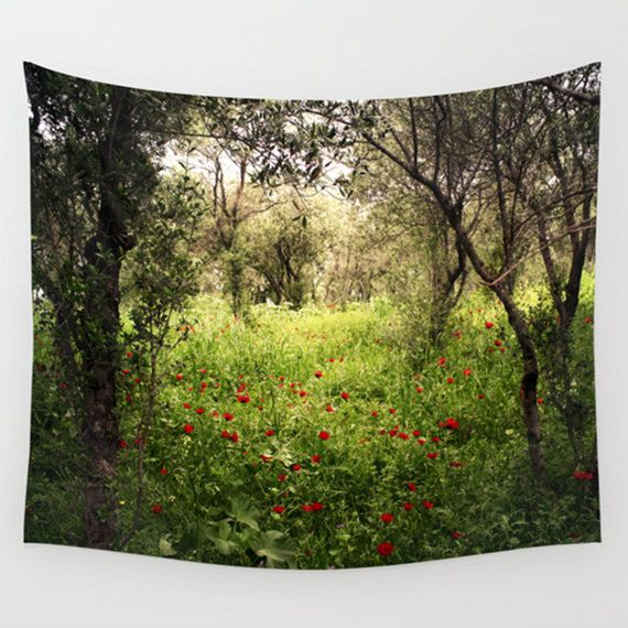 Landscape tapestry, nature tapestry, green, photo tapestry, wall hanging, rustic decor, oversized art, outdoor tapestry, poppies tapestry