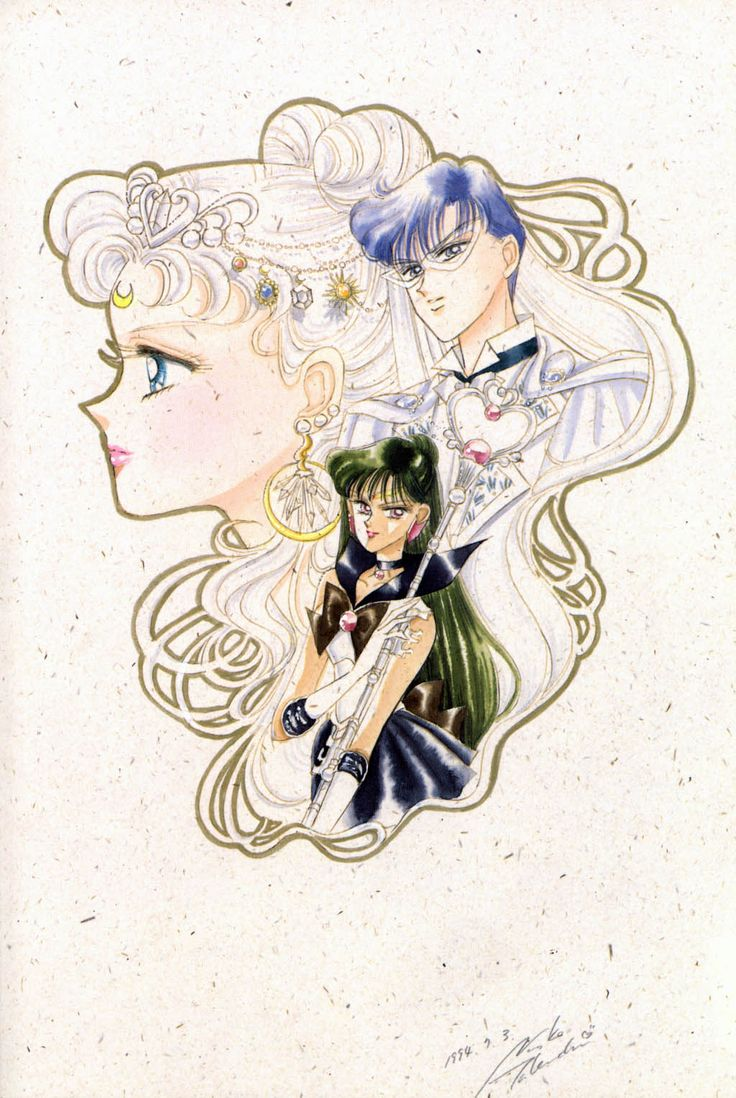 """Neo-Queen Serenity, King Endymion, & Sailor Pluto from """"Sailor Moon"""" series by manga artist Naoko Takeuchi."""