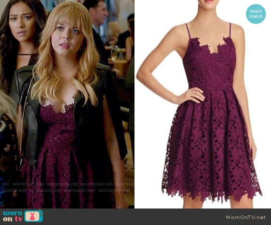 Ali's purple lace dress  on Pretty Little Liars.  Outfit Details: https://wornontv.net/73338/ #PLL