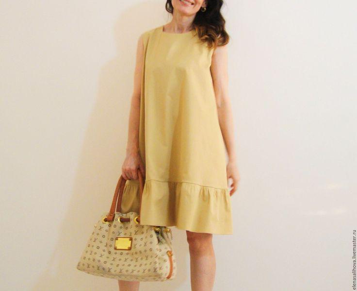 Купить Платье повседневное LIBERTY миди - золотой, платье повседневное, платье летнее
