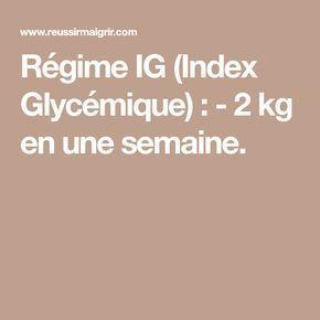Régime IG (Index Glycémique) : - 2 kg en une semaine.