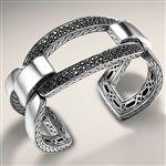 Классический Сеть Black Sapphire Серебряная Ссылка Браслет-манжета из ювелирных Джон Харди