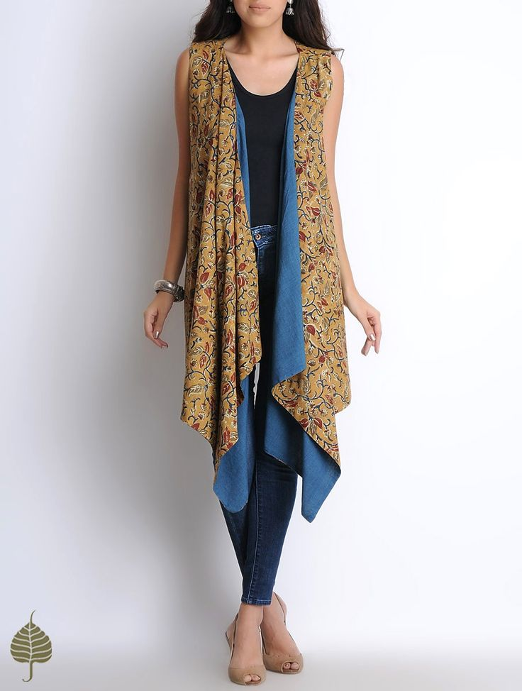 Buy Mustard-Indigo Hand Block Printed Kalamkari Cotton Cape with Hand Woven Indigo Lining by Jaypore Online at Jaypore.com