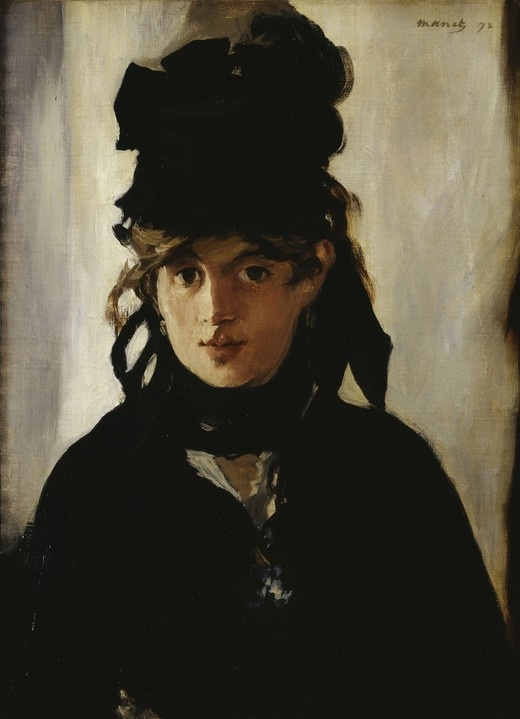 Edouard Manet painted this haunting portrait of Berthe Morisot. She was friends with Manet and married to his brother.  Berte was an accomplished painter and part of the inner circle of impressionists, however because she was a woman, her artwork was undervalued for over a century.