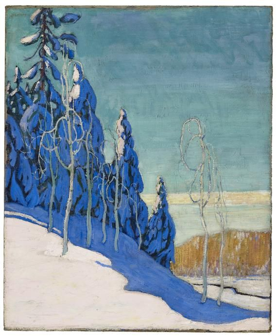 A Clear Winter by Arthur Lismer (1895-1969) belonged to the Canadian Group of Seven, painters influenced by Post-Impressionism and the Barbizon School (early Realist movement including Corot and Millet in France), in an effort to forge a distinctive Canadian style of painting.