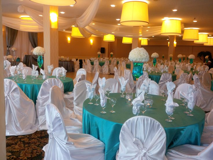Teal, White & Silver wedding decor by Sonia Denny Events