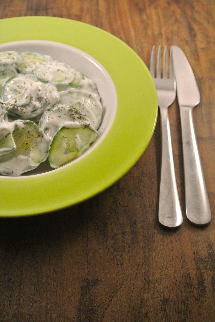 komkommer salade met yoghurt-dille dressing
