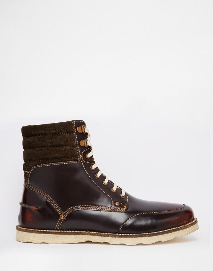Imagen 2 de Botas de cuero marrón con cordones con suela de cuña de ASOS