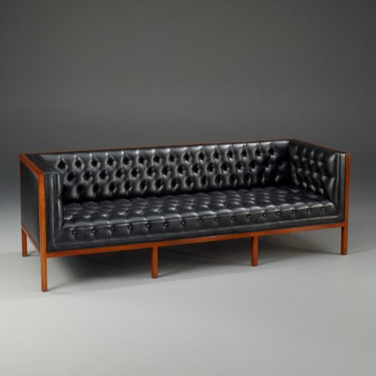 Black Leather Tufted Mid Century Modern Couch