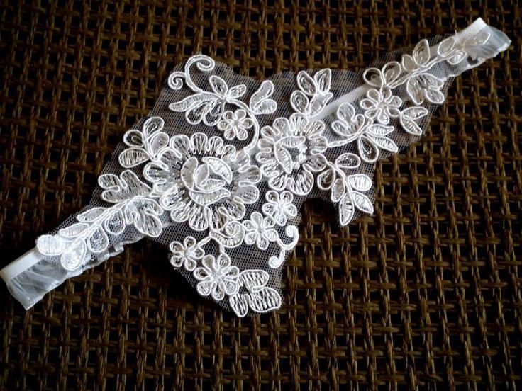 Csupa csipke esküvői legényfogó, combcsipke - lace wedding garter