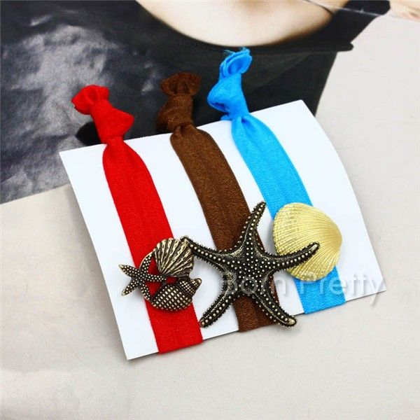 $2.99 1Pc Ocean Style Hair Holder Starfish Shell Pattern Elastic Hair Rope - BornPrettyStore.com