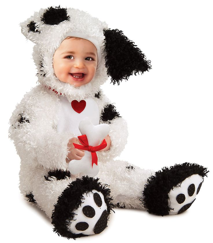 Puppy lovers can look just as cute and cuddly in our Dalmatian Dog Baby Costume. Your infant won't mind the 'ruff' dress-up play. From the Noah's Ark collection, our baby Dalmatian Costume includes a furry white romper with black spots featuring attached red collar with heart tag and paw print footsies, furry hood with floppy ears and a plush bone rattle with red bow. They'll be ready to hang with the 101 Dalmatians or answer calls with firefighters. There will be no argument that your ...