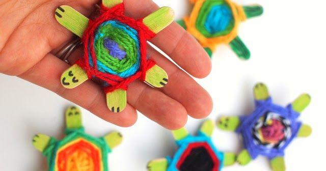 Weaving Cute Baby Turtles Using God's Eye Weaving Pattern   Pink Stripey Socks