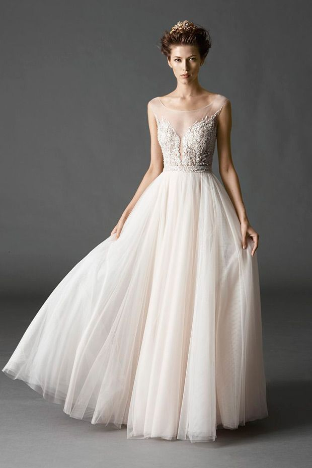 Watters Bridal Spring 2015 Collection Kaliah Gown With Tulle Skirt | www.onefabday.com