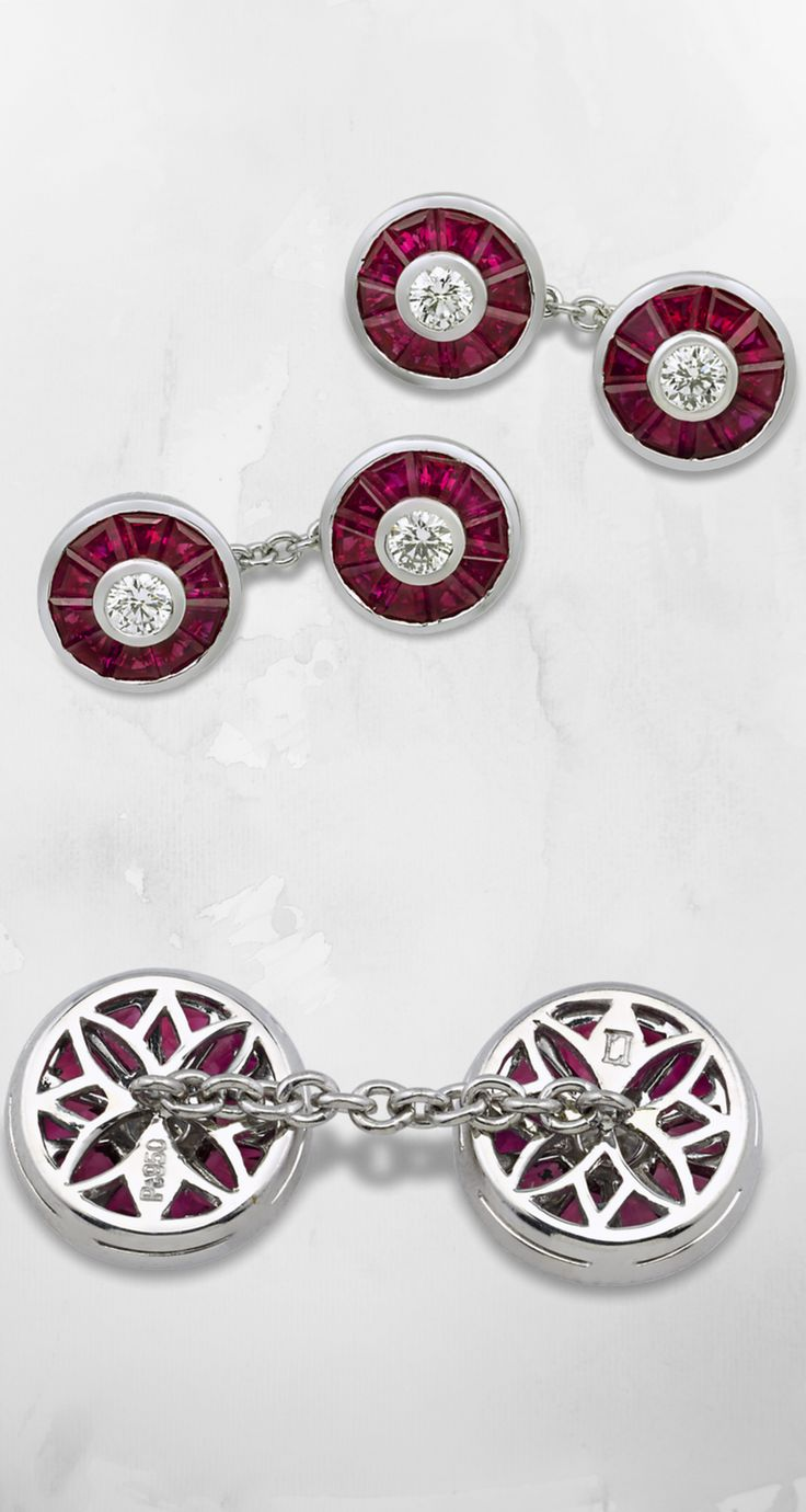 Ruby and Diamond Cufflinks, 3.66 Carats ~ Forty baguette-cut rubies surround four brilliant-cut diamonds in these classic cufflinks. The dazzling stones total 3.66 carats and 0.53 carat, respectively. Bezel-set in platinum ~ M.S. Rau Antiques