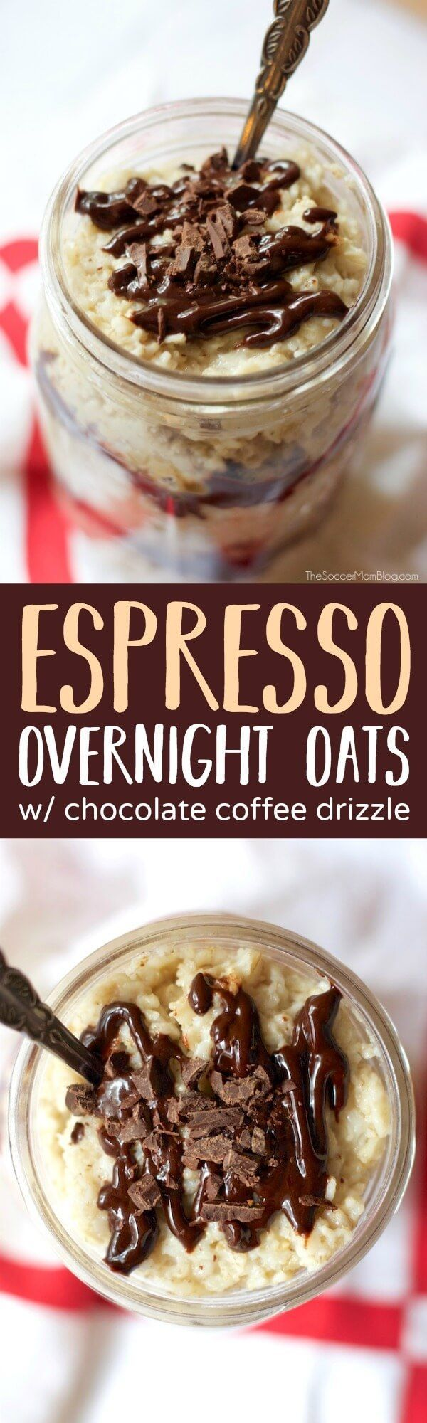 These Chocolate & Espresso Overnight Oats are a delicious boost of energy to start your morning. An easy grab-n-go breakfast. (AD)