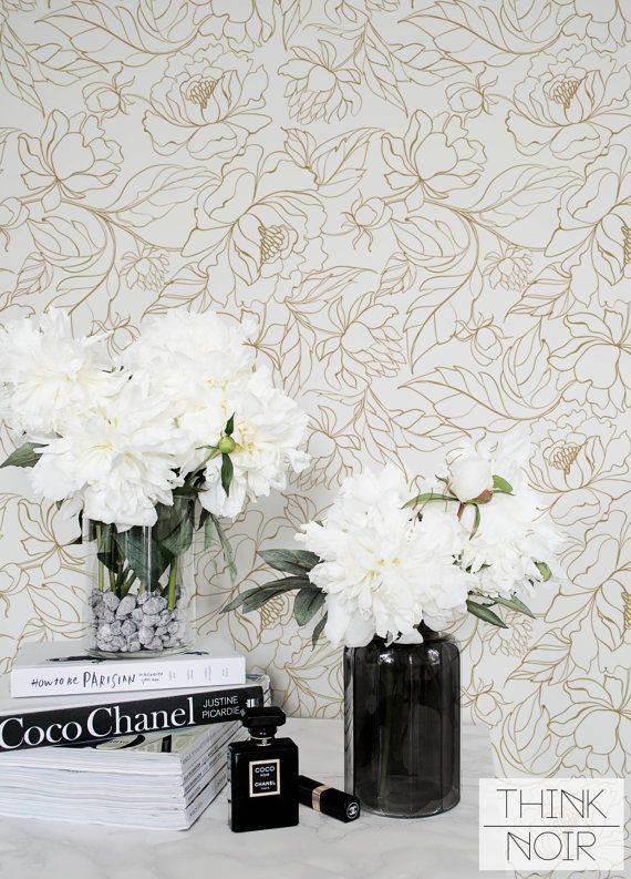 Peony Self Adhesive Wallpaper / Floral Removable Wallpaper / Flower Wall Mural / Floral Wallpaper
