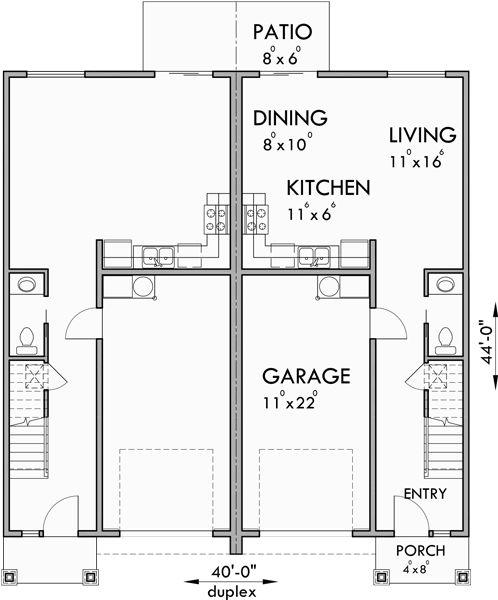 8df227ade2ab58404a5f42d3d67c9ca1 plan duplex duplex house plans best 25 duplex plans ideas on pinterest,Duplex House Plans With Garage