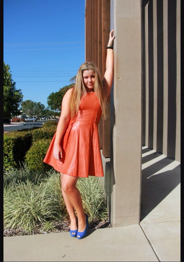 #houseofharli #leather #orange #fashion #honeyandbeau #dress