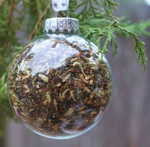 Clear glass ornament filled with loose leaf tea for a tea lover!
