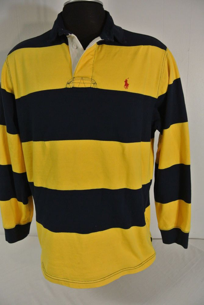 POLO by RALPH LAUREN LARGE Mens Blue Yellow Stripe Long Sleeve Michigan Colors | Clothing, Shoes & Accessories, Men's Clothing, Casual Shirts | eBay!