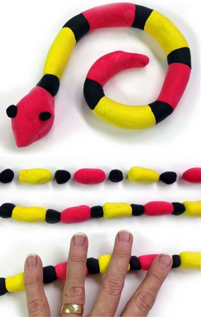This Common Core snake project uses two different kinds of patterns.  One is for the colors (black, yellow, black, red, or A, B, A, C) and one for the width (thin, wide, wide, or A, B, B). All together you have a pretty great mixture of art and math. #commoncore #crayolamodelmagic