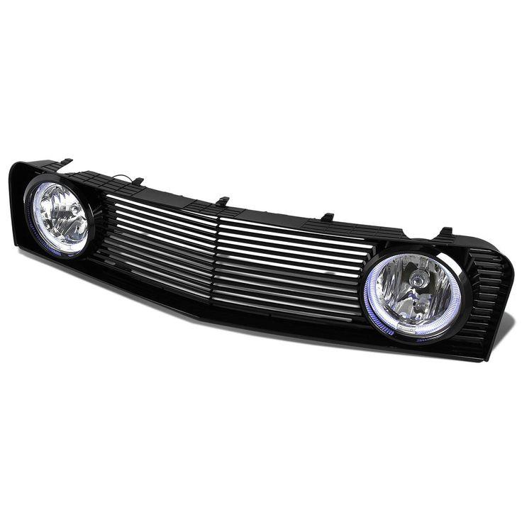 05-09 Ford Mustang V6 Model ABS Front Bumper Sport Mesh Grill + Halo Fog Lights - Black