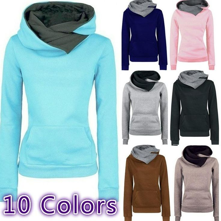 10 Colors Women's Fashion Casual Solid Hoodies Unisex Pullovers Turn-down Collar Sweatshirts Top
