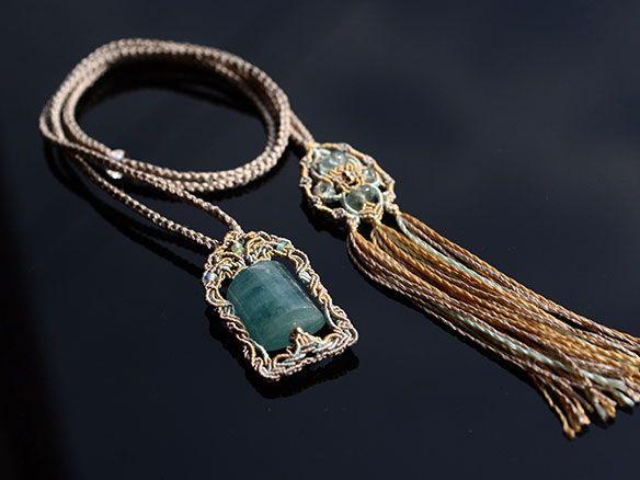 Aquamarine × seta pendente etiope opale / pietra naturale - pietre naturali accessori per corrispondenza | ARTEMANO (Arutemano)