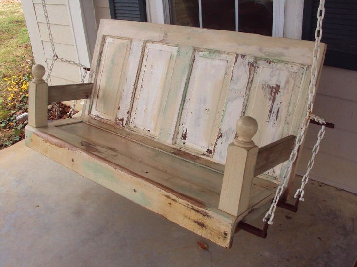 Old door furniture. Porch swing constructed from old doors and newel posts. Inquire for a custom order, missdulcie@aol.com.