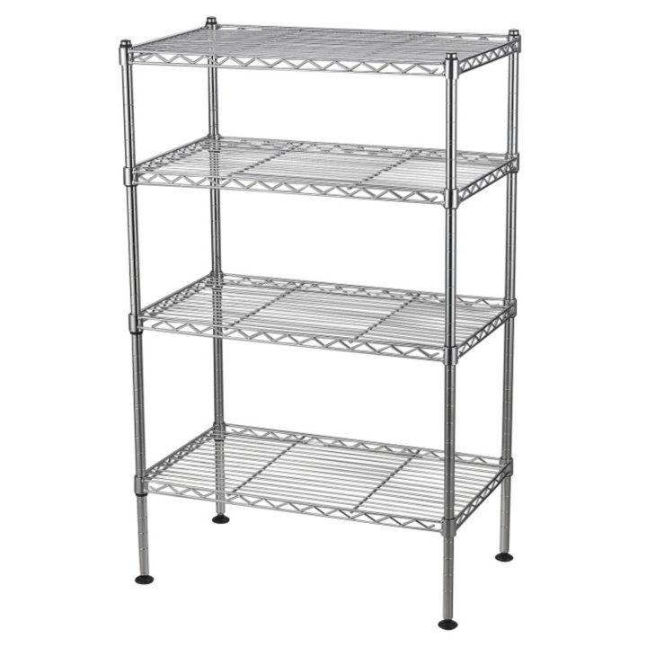 4 Shelf Light Duty Chrome Wire Shelving Unit 20 W X 32 H X 12 D Detail 1 Wire Shelving Units Wire Shelving Shelving
